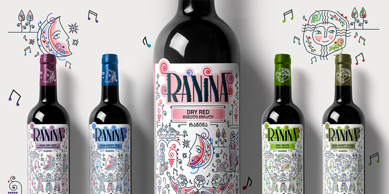 Self-adhesive label design for the RANINA brand