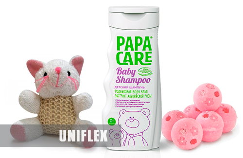 Self-adhesive label for Papa Care baby shampoo