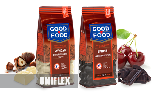 Good food pouches, chocolate coated treats